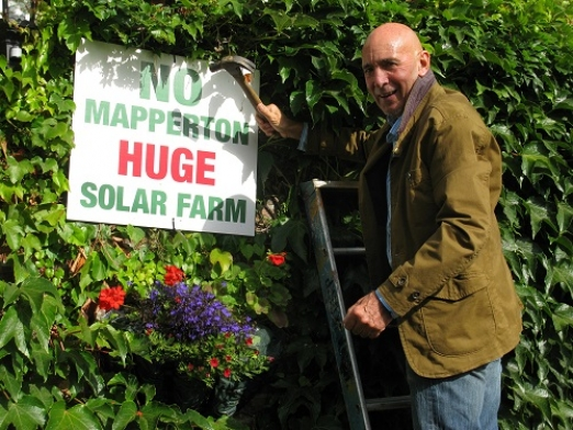Mapperton Solar Farm Protestor