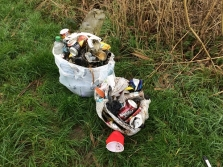 Litter collected by CPRE Member along River Stour in Christchurch
