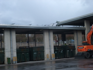 Solar panels on roof space at Bridport Recycling Centre