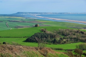 View of St Catherine's Chapel and Chesil Beach